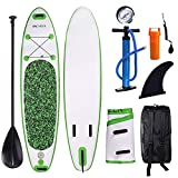 ANCHEER Inflatable Stand Up Paddle Board 10' with Non-Slip Deck, iSUP Boards w/Complete KIT, Adjustable Paddle, Leash, Fin, Hand Pump and Backpack, Youth & Adult