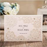 Wishmade 100x Ivory Laser Flowers Wedding Invitations With RSVP Cards and Envelopes For Engagement Bridal Shower Baby Shower Birthday Party Favor Supplies