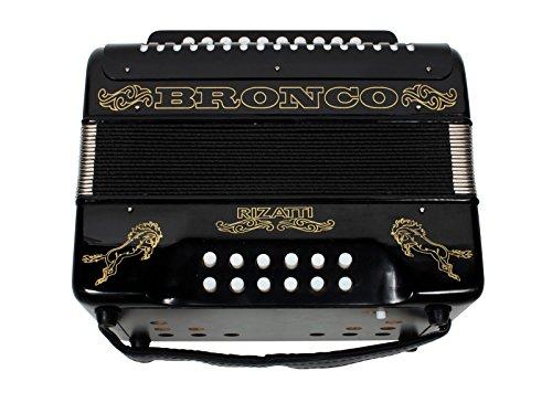 Rizatti Bronco RB31GB Diatonic Accordion - Black - Key G/C/F with Padded Bag