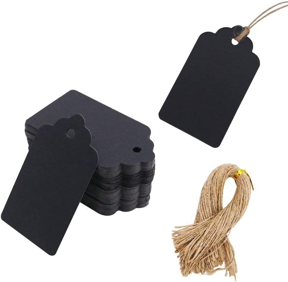SallyFashion 100pcs Black Paper Gift Tags with Free 100 Root Natural Jute Twine ( Water Ripple ): Home & Kitchen