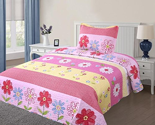 Elegant Home Cute Girls Multicolor Pink White Yellow Blue Striped Floral 2 Piece Coverlet Bedspread Quilt for Kids Teens / Girls Twin Size # 6 - Girls Floral Quilt