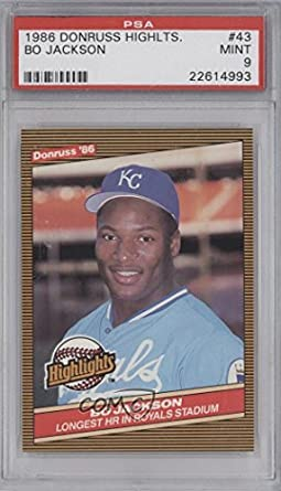 Amazoncom Bo Jackson Psa Graded 9 Baseball Card 1986 Donruss