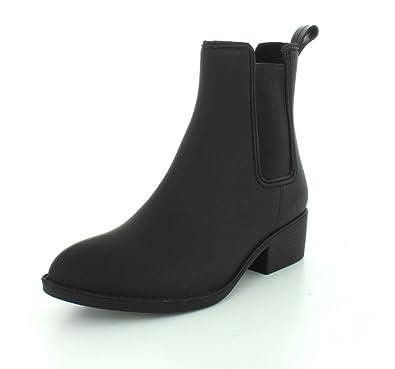 b3e94a95689 Jeffrey Campbell Womens Stormy Black Matte Rain Boot - 6