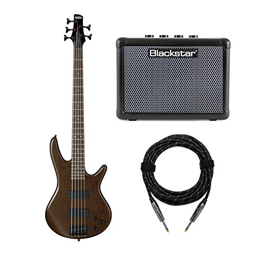 Ibanez 5-String Electric Bass Guitar (GSR205B) with FLY3 Bass Amp and Knox Guitar Cable (3 Items)