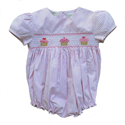 Smocked Cupcake (Carriage Boutique Baby Girl Pink Spring Summer Bubble Creeper - Hand Smocked Cupcakes, 6M (Newborn))