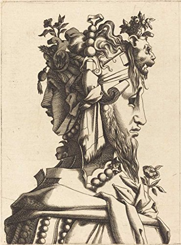 Fine Art Print | French 16th Century after Ren' Boyvin or Pierre Milan | Bust of a Woman in an Extravagant Costume 1560 | Vintage Wall Decor Poster Reproduction | 32in x 43in