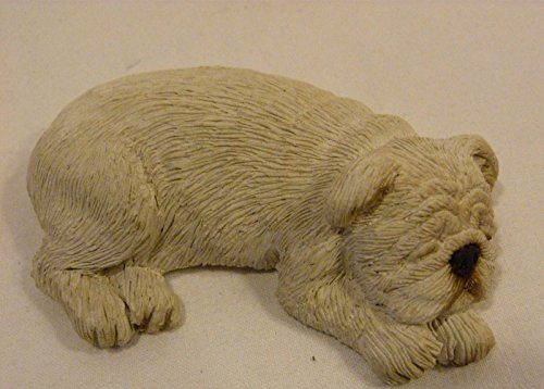Sandicast 2000 Dog Figurine Lil' Snoozers White Bulldog S116 Hand Made in USA