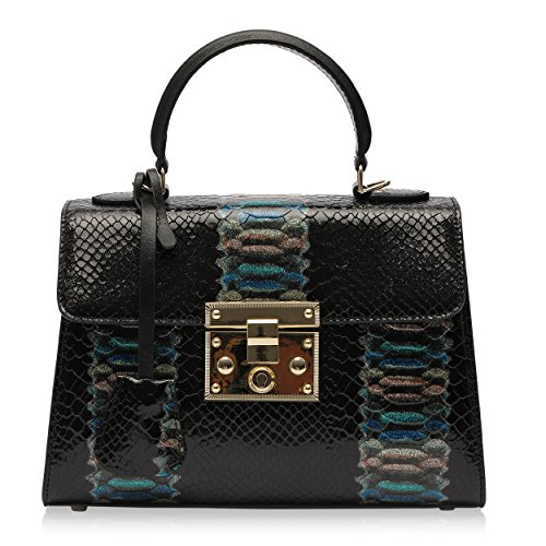 Ali Victory Designer Women Dazzling Handbags Leather Tote Bag (Black)