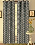 1 Set Slate Taupe 108'' Geometric Lined Blackout Grommet Window Drape Curtain