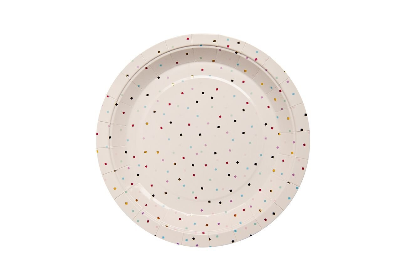 We Love Sundays Tiny Square Confetti Paper Plates | 10-Pack | Great for Various Themed Parties