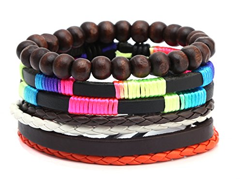 HZMAN Mix 4 Wrap Bracelets Men Women Hemp Cords Wood Beads Ethnic Tribal Bracelets Leather Wristbands Set