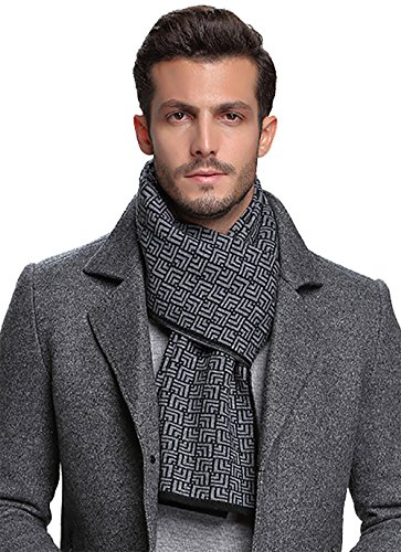 Ellettee, 100% Australian Wool Men Scarf Classic Knitted Long NeckwearStripe Plaid Scarves (Maze BlackSilver)
