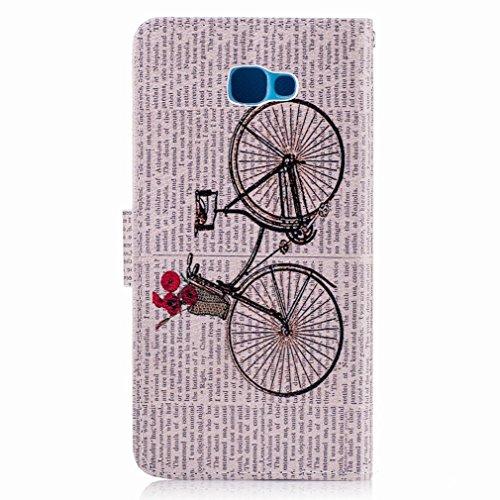 Yiizy Samsung Galaxy J5 Prime (G570, G570F/DS, G570Y) Custodia Cover, Bicicletta Design Sottile Flip Portafoglio PU Pelle Cuoio Copertura Shell Case Slot Schede Cavalletto Stile Libro Bumper Protettiv