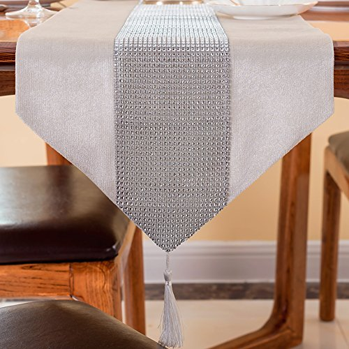 Table Runner with Rhinestone Strip and Tassels Elegant Dining Decorative Tapestry for Coffee Table Wedding Reception Baby Shower Party Valentine's Day Dinner Banquet, 13x72 Inch Creamy (Rhinestone Table Runner)