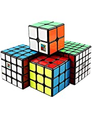 Coogam Moyu Cube Bundle 2x2 3x3 4x4 5x5 Speed Cube Set MF2S MF3S MF4S MF5S Pack Black Puzzle Toy Gift Box