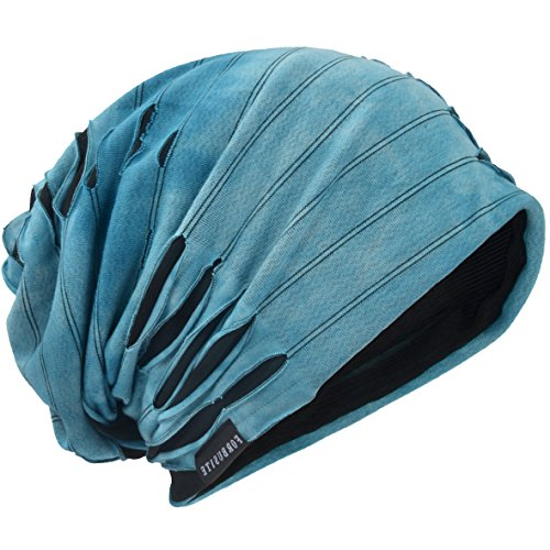(JESSE · RENA Men's Chic Striped Thin Baggy Slouch Summer Beanie Skull Cap Hat (9A-Blue))