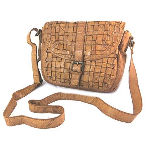 Bolsa de cuero 'Gianni Conti'coñac trenzada - 23x20x9 cm.