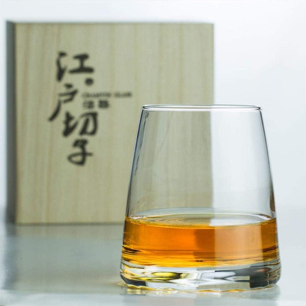 Whisky Vaso Cristal Japón Edo Kiriko Crystal Artwork Whisky Mug Mountain Moon Concepción Artística Whisky Old Fashioned Glass Vaso De Cata De Vinos, Montañas Distantes, 375 Ml