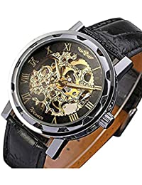 Men's Mechanical Elegant Skeleton Dial Wrist Watch, Black