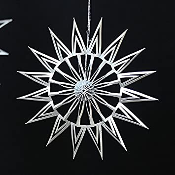 DWM Weihnachtsstern 16 silber  silbergrau ø 16 x 1 cm h 16 cm
