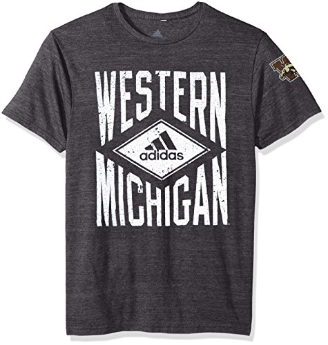 (adidas NCAA Western Michigan Broncos Adult Men Diamond Mine Tri-Blend S/Tee, Large, Black Heathered)
