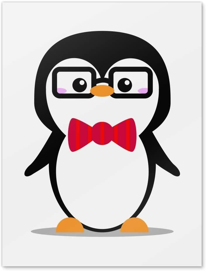 Amazon Com Graphics More Cartoon Penguin With Bow Tie And Glasses Home Business Office Sign Home Kitchen