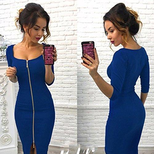 Fte Cocktail lgant Casual pour Bleu de Soire Sexy Minetom 4 Manche Midi t Robe Zipe Robe 3 Dress Femme Printemps Robe Bodycon xwR06FZ