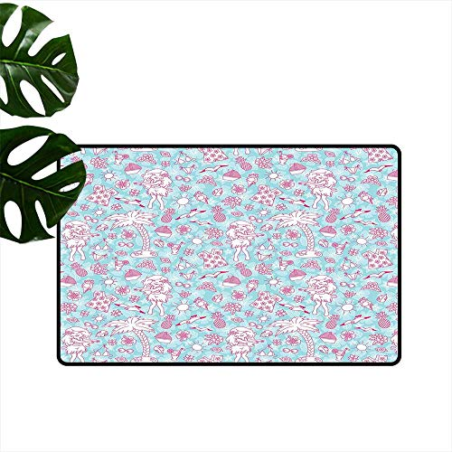 PEONIY&HOME Hawaii,Doormat Tropic Doodle with American Girl Wearing Grass Skirt Flower Patterned Shirt Entrance Rugs W 20