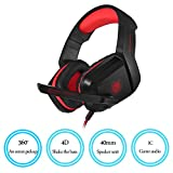 PHOINIKAS Gaming Headset for Headphone Noise Cancelling Over Ear Headphones with Mic LED Light Bass Surround for PS4 PC Xbox One Controller, H-1 Computer Gaming Headsets (Red)