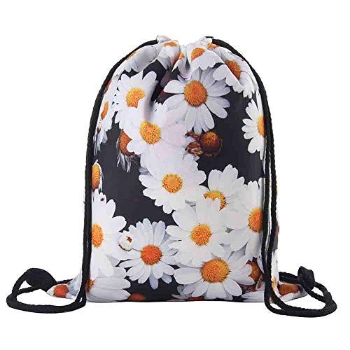 Shybuy Non-Woven Drawstring Bag Stylish Printed Lightweight Gym Sackpack Yoga Gym Swimming Cinch Pack (B, 11.8(L) x0.8(W) x15.4(H)
