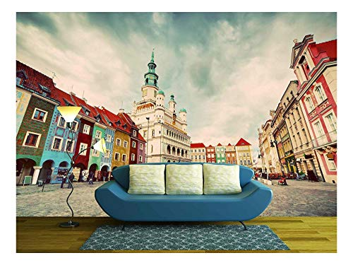 wall26 - Poznan, Posen Market Square, Old Town, Poland. Town Hall and Colourful Historical Buildings. Vintage - Removable Wall Mural   Self-Adhesive Large Wallpaper - 100x144 inches