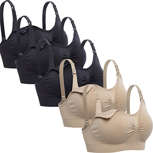 Lataly Womens Sleeping Nursing Bra Wirefree Breastfeeding Maternity Bralette Pack of 5 Color Black Beige Size XL
