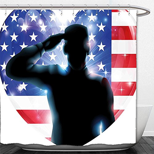 Interestlee Shower Curtain 4th of July Decor Funny French Bulldog with Sunglasses in American Costume Hiding Graphic Art - Fallout 4 Sunglasses