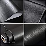 Tools & Hardware : Black Wood Contact Paper Self Adhesive Shelf Liner Covering for Kitchen Countertop Cabinets Drawer Furniture Wall Door Countertop Cabinet Vinyl PVC 17.71 inch x 78.7 inch