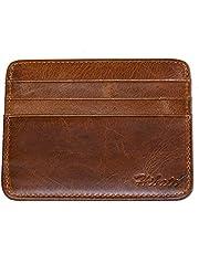 Hibate Vintage-Style Slim Leather Credit Card Holder Front Pocket Case for Men Women Bag Wallet