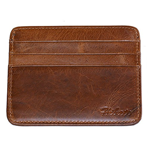 Hibate Vintage-Style Men's Leather Front Pocket Credit Card Holder Slim Sleeve Case