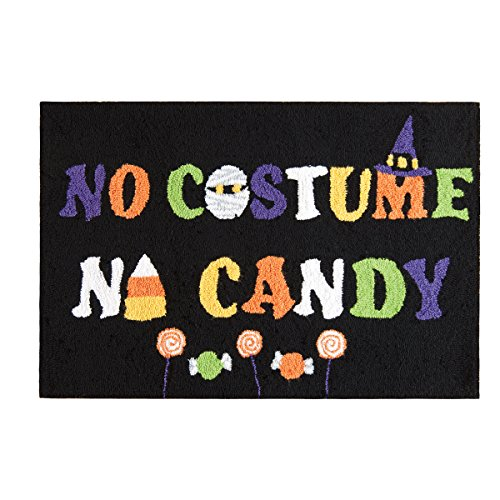 C&F Home Hooked No Costume No Candy Halloween Rug, Black