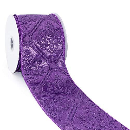 CT CRAFT LLC Purple Jacquard Damask Wired Ribbon - 2.5 Inch x 10 Yards x 1 Roll