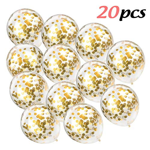 IBEET 20 PCS Gold Confetti Balloons Bulk, 12 inches Giant Metallic Confetti Filled Round Balloon Set, for Party, Wedding, Birthday Decoration, Air and Helium Can Be Filled