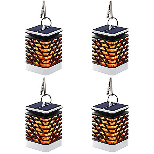 Hallomall Solar Outdoor Lights Hanging, Solar Lanterns Waterproof IP55 with Dancing Flame Effect 75LED for Garden Patio Umbrella Lamp Tree Pool Pavilion Lawn Porch Decor- Pack of 4 (Grey) by Hallomall