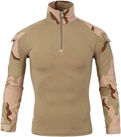 SFYZY Camisa de Manga Larga táctica de Entrenamiento Militar Delgada para Hombres 1/4 Camisa de Camuflaje con Cremallera Delantera Traje de Entrenamiento de Combate al Aire Libre Chaqueta elástica: Amazon.es: Ropa y