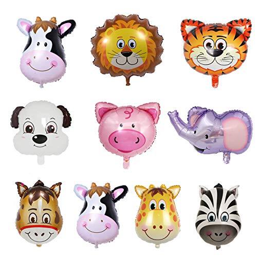 (U-Star 10pcs Safari Animal Balloons 22Inch Giant Zoo Animal Balloons for Jungle Safari Zoo Theme Birthday Party)