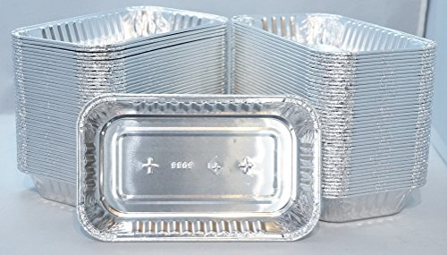 100 Pieces Ekco Disposable 1 1/4 lb Aluminum Pan 7 1/7 X 5 1/8 X 1 1/4