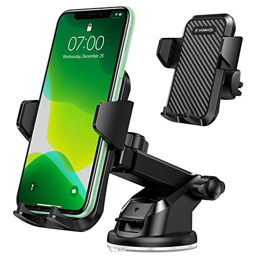 VANMASS Car Phone Mount,【Patent & Safety Certs】Upgraded Handsfree Stand, Dash Windshield Air Vent Phone Holder for Car…