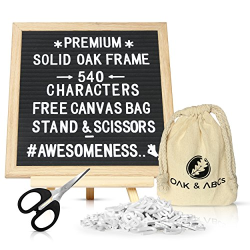 Changeable Letter Boards, Felt Sign 10 x 10, High Quality Bulletin Message Board, Bundle Includes 540 White Letters & Characters, Natural Pine Easel Stand, Canvas Bag & (Changeable Sign Letters)