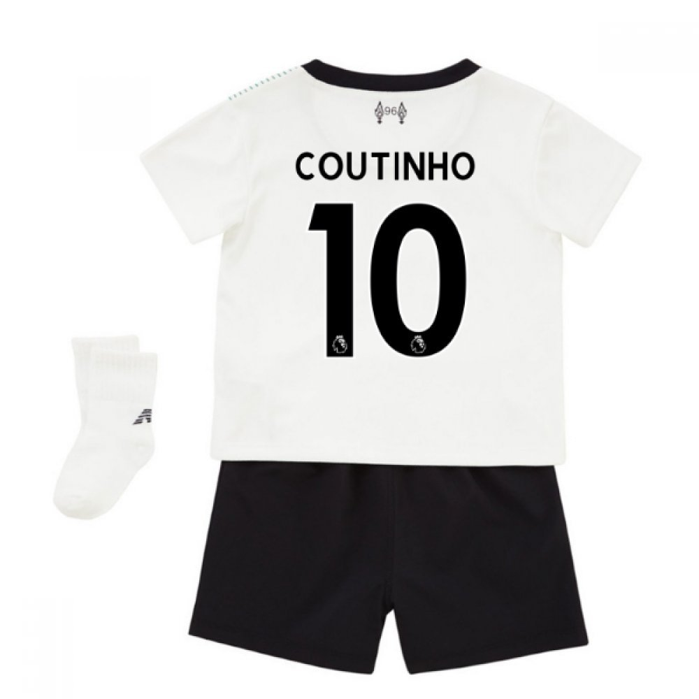 UKSoccershop 2017-18 Liverpool Away Baby Kit (Philippe Coutinho 10)