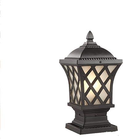 IP56 clasificado tradicional negro poste pilar linterna luz jardín exterior iluminación lámpara de pie iluminación de su camino solo cabeza lámpara de columna de aluminio E27 (tamaño : 40 * 70cm): Amazon.es: Hogar