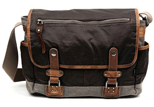 The Same Direction Tapa Two Tone Messenger Bag Canvas and Leather Bag (Grey) (The Same Direction Bag)