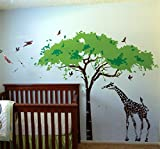 Pop Decors Removable Vinyl Art Wall Decals Mural for Nursery Room, Africa Tree and Giraffe