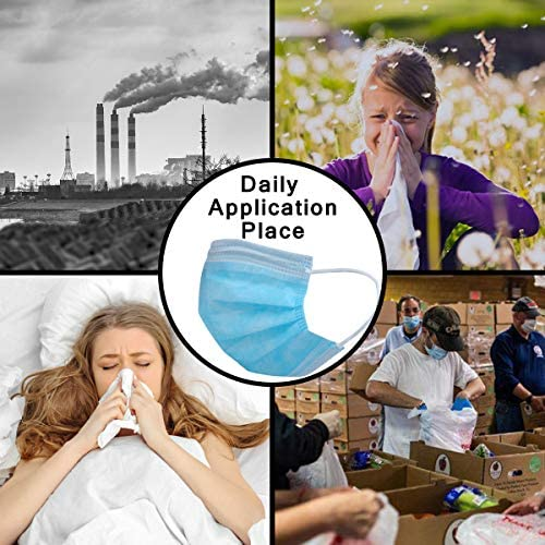 DIOLV Disposable Kids Face Mask 3 Layer Filtration, Boys Breathable Protection Facemask Safety Dust Filter Girls Protective Facial Masks for Indoor Outdoor 50Pcs/Pack, Earloop Blue